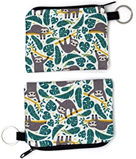 Cute Animal Sloth Coin Purses Water Resistant Mini Wallet Change Holders Credit Cards Key Storage Bag Coin Pouch(2Packs)