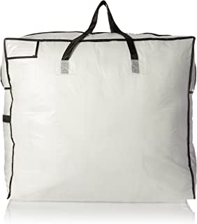 Household Essentials 2622 MightyStor Large Storage Bag with Handles   Clothing and Linen Storage Bag White Tarp with Black...