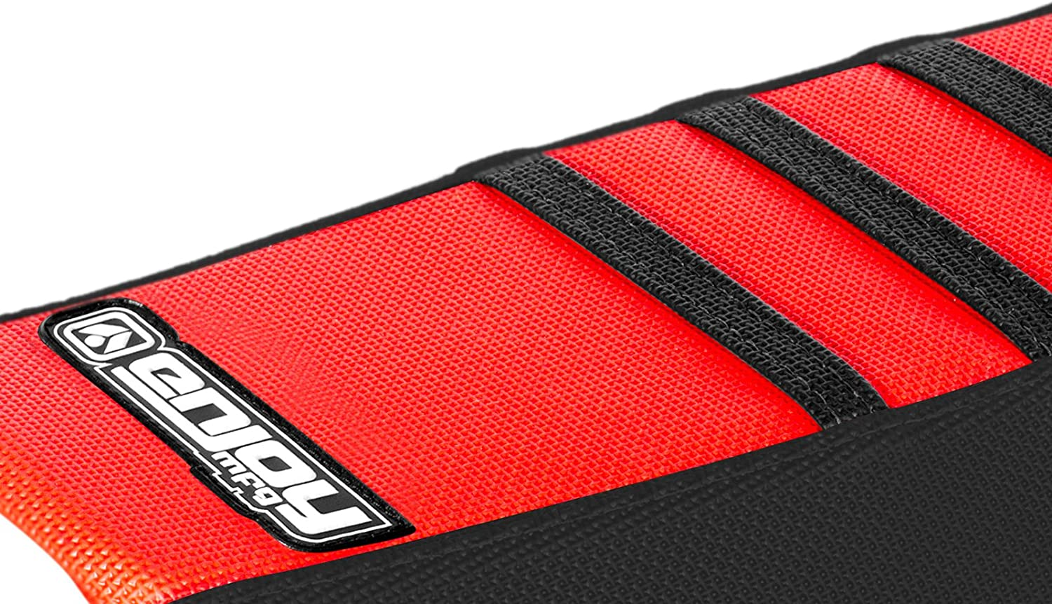 All Red//Black Ribs Enjoy MFG Ribbed Seat Cover for 2002-2008 Honda CR 125//250 Later Models