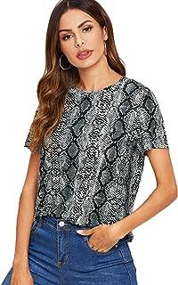 Women's Casual Leopard Print Round Neck Short Sleeve T Shirt Tee Tops