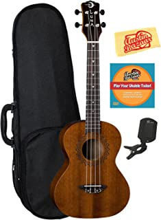 Luna Vintage Mahogany Tenor Ukulele Bundle with Hard Case, Tuner, Austin Bazaar Instructional DVD, and Polishing Cloth