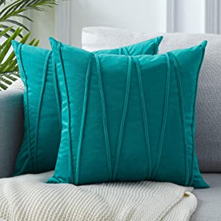 Top Finel Decorative Hand-Made Throw Pillow Covers 18 x 18 Inch Soft Particles Striped Velvet Solid Cushion Covers for Couch Bedroom Car 45 x 45 cm, Pack of 2, Teal Blue