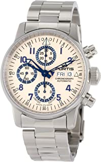 Fortis Mens 597.20.92 M Flieger Chronograph Limited Edition Stainless Steel Watch with Blue Accents
