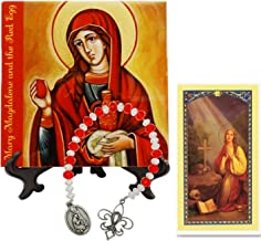 Mary Magdalene and The Red Egg Patroness of Women Porcelain Tile Plaque Includes a Blessed Prayer Card and a Czech Crystal Beads Chaplet