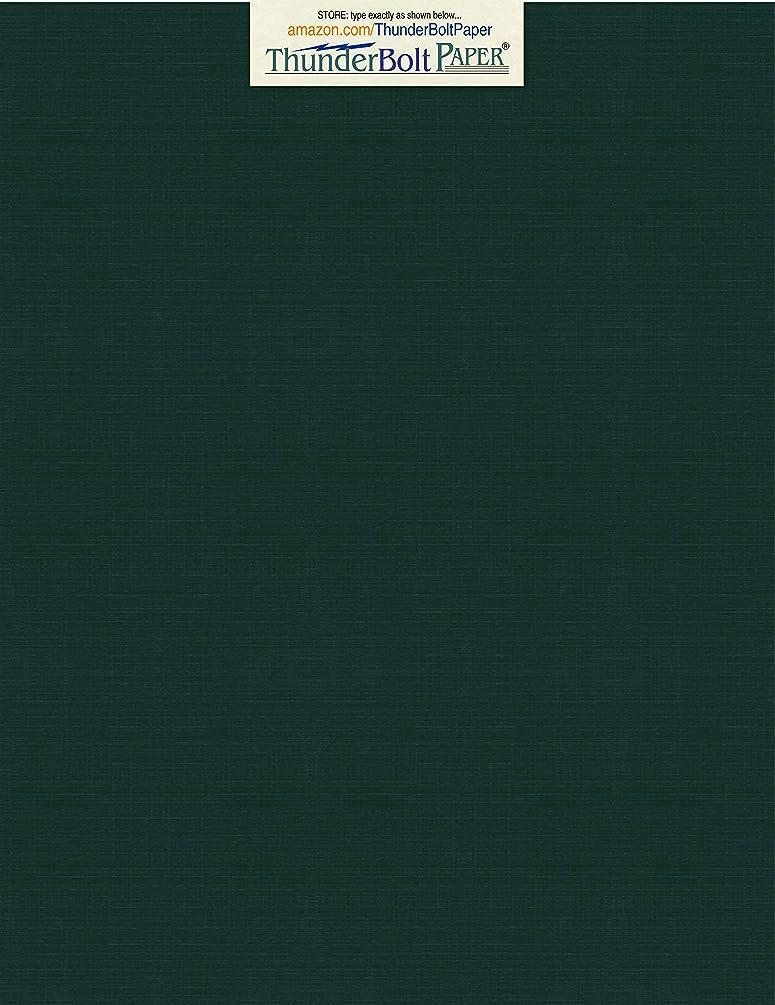 150 Dark Green Linen 80# Cover Paper Sheets - 8.5