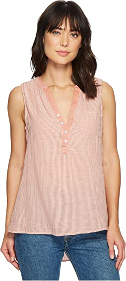 Dylan by True Grit - Classic Stripe Sleeveless One-Pocket Pullover