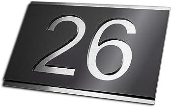Premium designer huisnummer van roestvrij staal | vele kleuren: antraciet - grijs - zwart - wit - rood | roestvrij & weerb...