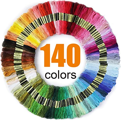 Premium Rainbow Color Embroidery Floss 140 Skeins Per Pack with Cotton for Cross Stitch Threads, Bracelet Yarn, Craft...