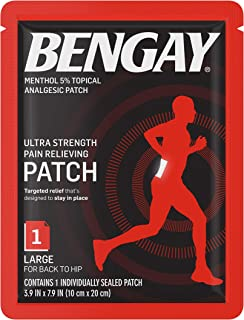 BENGAY Ultra Strength Pain Relief Patch for Muscle Pain On-The-Go, Large 3.9 x 7.9 inches, 1 ea