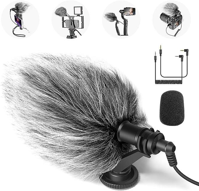 Neewer CM14 - Micrófono con cámara de vídeo con Soporte antivibración Capucha antiviento y Cables de Audio Compatible con iPhone Android Smartphone DSLR y videocámaras