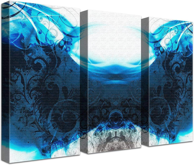 LANA KK Luxus Ausführung Impression Rock Blau  Abstraktes Design auf 4cm Echtholz, dreiteilig, Blau Schwarz, 120 x 80 cm B074T2XCMG   Einzigartig