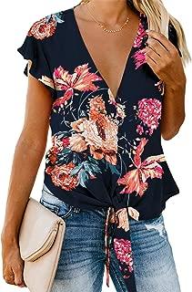 SZIVYSHI Short Sleeve Ruffled Ruffle Hem Deep V Neck Knotted Tie Floral Button Front T-Shirt Blouse Shirt Top