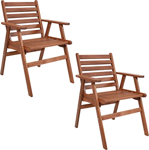 wholesale Sunnydaze Meranti online sale Wood Outdoor Dining online Arm Chair with Teak Oil Finish - Set of 2 - Modern Rustic Outdoor Furniture - Comfortable Patio Seating - Perfect for The Front Porch, Backyard, Patio or Balcony outlet online sale