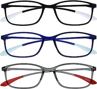 Opulize Ice 3 Stuks Super Lichtgewicht Leesbril Zwart Blauw Grijs Vrouwen Mannen RRR61-137