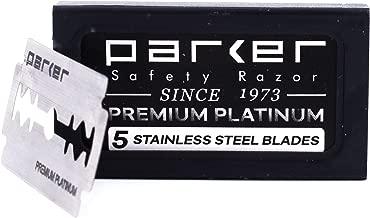 Parker's Double Edge Safety Razor Blades,100 Count (20 x 5), Premium Platinum Razor Blades with Platinum, Tungsten and Chromium Coated Edges
