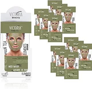 Victoria Beauty – 12 Stk. Grüntee Schlammmasken für trockene und unreine Haut – Green Tea Mud Mask – Blackhead Remover – Deep Cleansing – Gesichtsmaske für Frauen und Männer