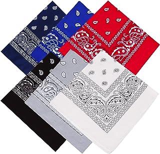 ATIMIGO 6 Pack Cotton Bandanas Scarf Novelty Head Warp Wristband Bandanas for Women Men