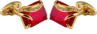 Knighthood Men's Bloodstone Cut Red Crystal Golden Waved Cufflinks Red Shirt Cuff Links Business, Wedding Gifts with Gift Box