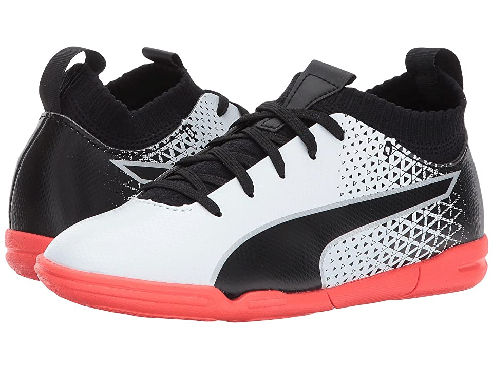 Puma Kids evoKnit FTB IT (Little Kid/Big Kid) (Puma White/Puma Black/Fiery Coral) Kids Shoes