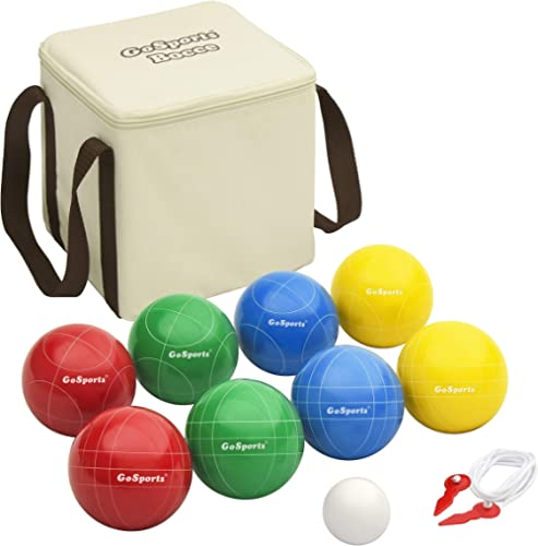 GoSports Backyard Bocce Sets with 8 Balls, Pallino, Case and Measuring Rope - Choose Between Classic Resin, Soft and ...