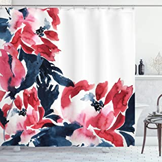 Ambesonne Floral Shower Curtain, Flowers in Watercolor Style Effect Illustration of Peonies Spring Inspired Print, Cloth Fabric Bathroom Decor Set with Hooks, 70