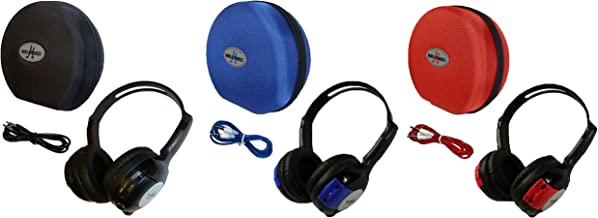 3 Pack Kid Sized Wireless Infrared Car DVD IR Automotive Colored Adjustable 2 Channel Headphones With Case and 3.5mm Auxiliary Cord. Note: Will Not Work on 2017+ GM's or Pacifica