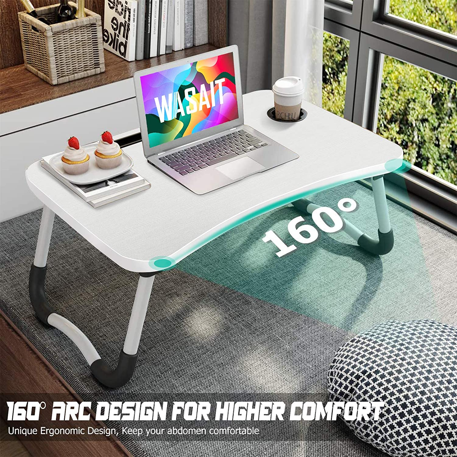 Black Foldable Bed Desk for Laptop Stand for Bed Folding Lap Desk Laptop Bed Tray Table for Eating and Laptops Portable Workstation Desk Floor Tray with Cup Holder for Sofa Couch Writing Reading