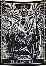 Tarot Cards Tapestry The Lovers Tapestry, Lovers Stand Under The Tree Tapestry Black Tapestry Medieval Europe Divination Tapestry for Room