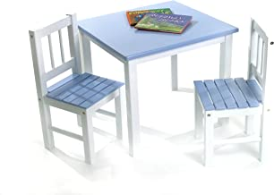 Lipper International Child's Table and 2 Chairs, Blue and White
