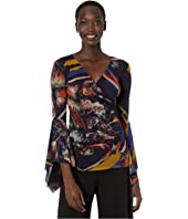 FUZZI - Long Sleeve V-Neck Floral Top with Dramatique Sleeves