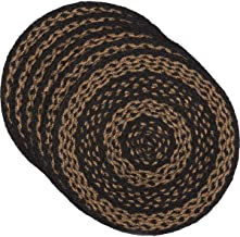VHC Brands Classic Country Primitive Tabletop & Kitchen - Farmhouse Jute Black Round Tablemat Set of 6,