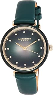 Akribos XXIV Leather Women's Watch – Genuine Swarovski Crystal Markers on Two Tone Gradient Dial Sunray Dial – Elegant Green Skinny Strap – AK1035GN