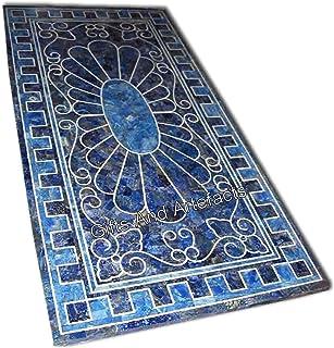 Gifts And Artefacts Table de salle à manger en marbre bleu au design unique avec pierres semi-précieuses lapis lazuli 30 x...