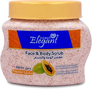 Elegant Fresh Papaya FACE & BODY SCRUB | 500 ML | Deep Cleaning & Exfoliating Scrub, Facial Exfoliant For Healthy & Smooth...