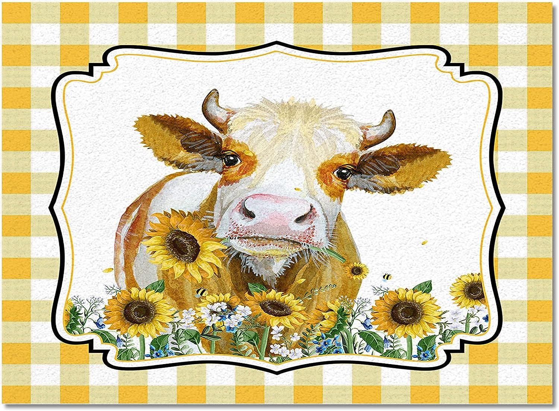 Meet 1998 Cattle Farm Animal Indoor Japan's largest assortment Area Rugs Sunflower Durable Finally popular brand