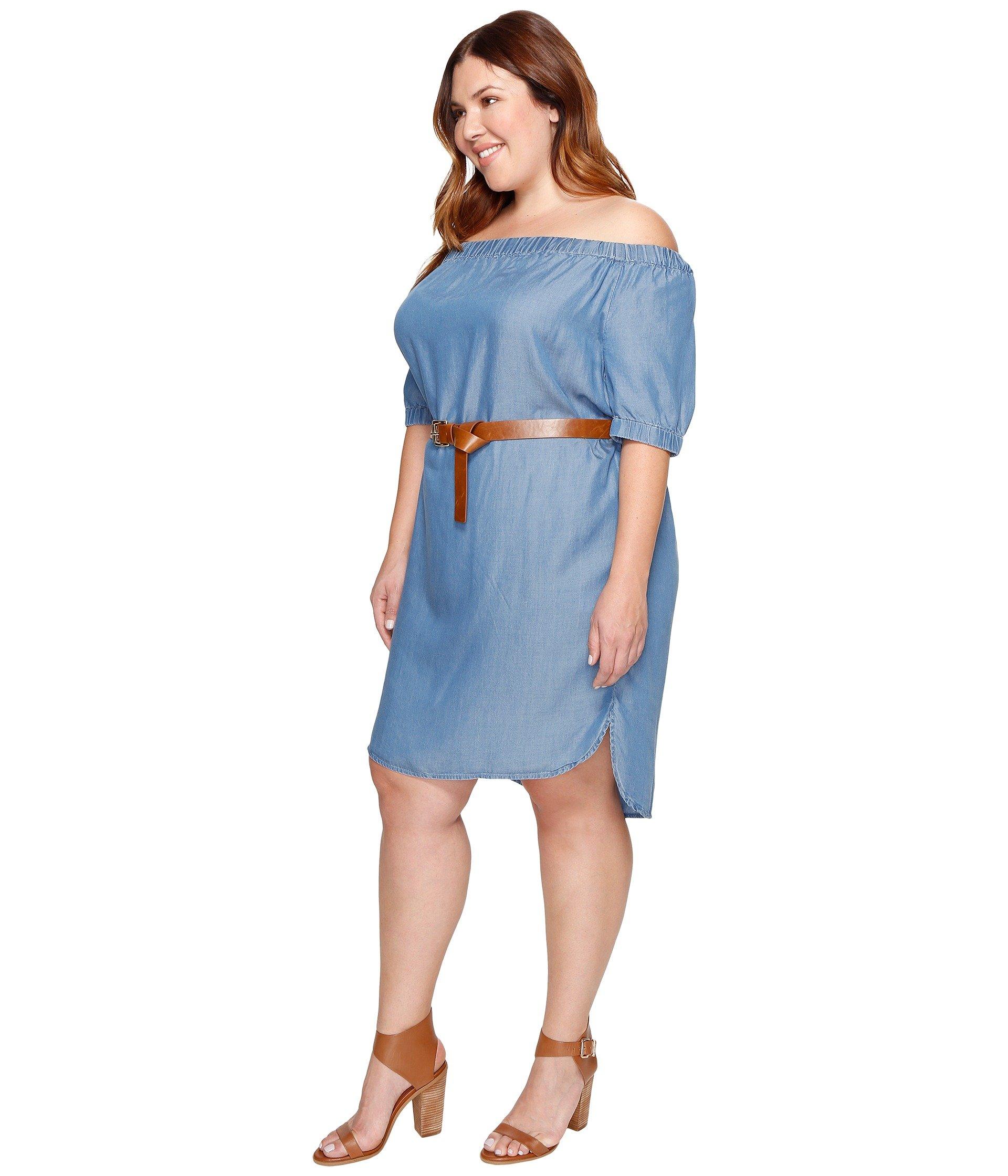 MICHAEL Michael Kors Plus Size Denim Off Shoulder Sleeveless Dress ...