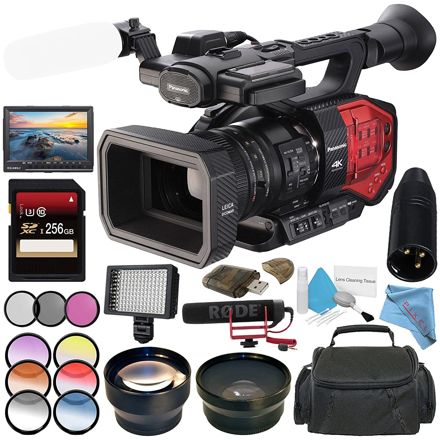 Panasonic AG-DVX200 4K Camcorder with Four Thirds Sensor and Integrated Zoom Lens + 256GB SDXC Card + 72mm 3 Piece Filter Kit + Rode VideoMic GO + 7