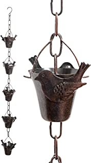 Iron Bird Decorative Rain Chain for Gutters | Unique Downspout Extension Home Décor | Rainwater Diverter with Rain Collector Cups is an Excellent Gift Idea for Housewarming, Birthday (Bird)