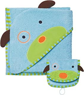 Skip Hop Zoo Baby Infant and Toddler Soft Cotton Hooded Bath Towel and Mitt Washcloth Set, Two Pieces, Multi, Darby Dog