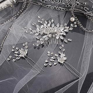 YERTTER Vintage Rhinestones Bride Wedding Hair Accessories for Brides Crystal Simulated Pearl Floral Leaves Bridal Hair Co...