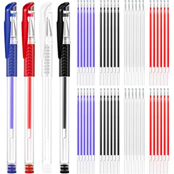 QA 4 Heat Erase Pens with 48 Refills for Sewing Fabric Leather Quilting Dressmaking 4 Colors Heat Erasable Fabric Marking Pens for Tailors Sewing