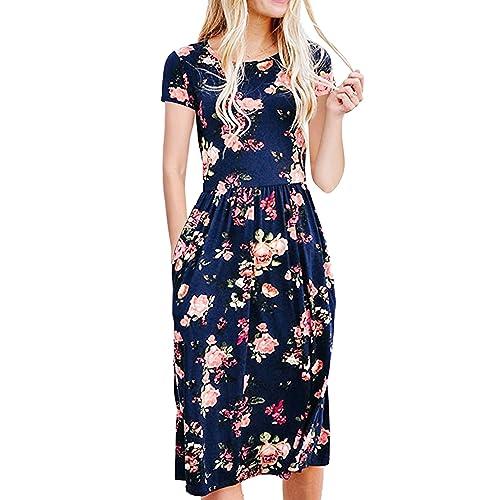 ddfa539c85e ECOWISH Womens Dresses Summer Floral Short Sleeve Elastic Waist Vintage  Retro Midi Dress with Pockets