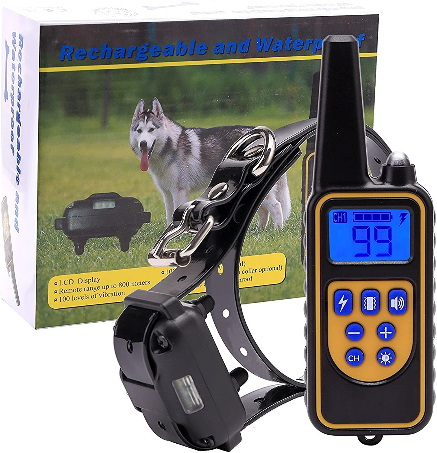 Dog Training Collar Remote Electric Rechargeable and 100% Waterproof beeper collar,800m Remote,with 4 Modes Light Shock Vibration Beep for Medium and Large Dog,2600ft RangeFor One Dog
