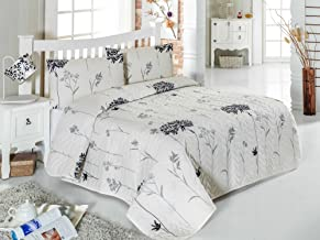 Eponj Home Single Quilted Bedspread Set-    Quilted Cover(Padded): 160 x 220 cm Pillowcase: 50 x 70 cm (1 Piece)