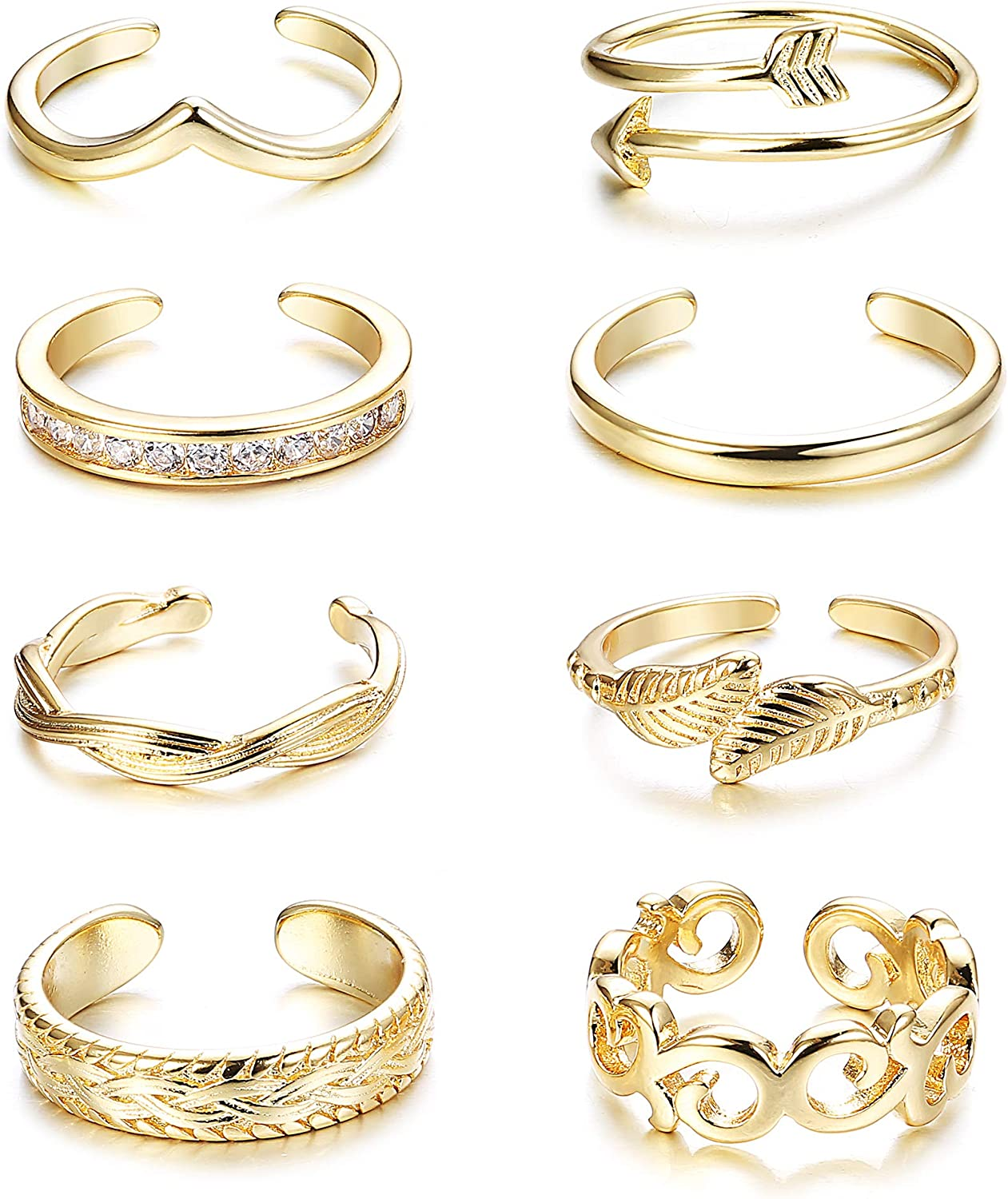 FINREZIO 8PCS Adjustable Toe Ring for Women Girls Open Tail Ring Flower Knot Simple Toe Ring Gifts Jewelry Set…
