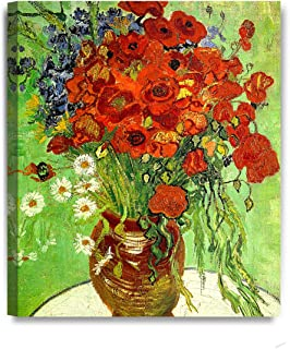 DECORARTS - Red Poppies and Daisies by Vincent Van Gogh Oil Painting Reproduction Giclee Print on 100% Cotton Canvas Wall Art for Home Decor and Wall Decor 20x24