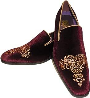 AM 6823 Mens Burgundy Gold Embellished Fancy Velvet Dress Loafers Shoes