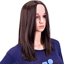 SWACC 14-Inch Short Straight Middle Part Hair Wig Medium Length Synthetic Heat Resistant Wigs for Women with Wig Cap (Dark Brown-4#)