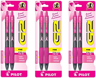 Pilot G2 Breast Cancer Awareness Pink Pens with Pink Ink, Retractable Gel Ink Rolling Ball, Fine Point, 2-Pack (31312), 3 PACK