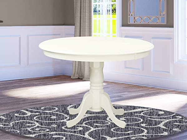 East West Furniture HLT LWH TP Hartland Table 42 Diameter Round Table Finish Linen White